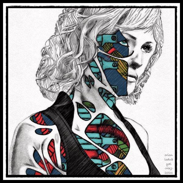 Blonde Cyborg Woman Surreal Pop Art